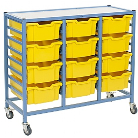 Gratnells Handy Deep Tray 3 Column Storage Trolley