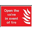Open The Valve In The Event Of A Fire Sign
