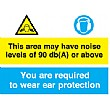 This Area May Have Noise Levels Of 90db Or Above Sign