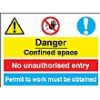 Danger Confined Space No Unauthorised Entry, Permit To Work Must Be Obtained.