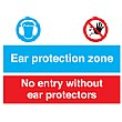 Ear Protection Zone No Entry Without Ear Protectors Sign