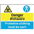 Danger Biohazard Protective Clothing Must Be Worn Sign