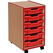 Coloured Edge 6 Tray Shallow Storage Unit