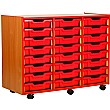 Coloured Edge 24 Tray Shallow Storage Unit