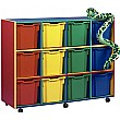 Multi Coloured 12 Tray Jumbo Mobile Storage Unit
