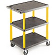 Large 3 Shelf Service Trolley With Coloured Legs