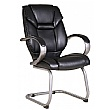 Fiji Leather Faced Visitor Chair - Black