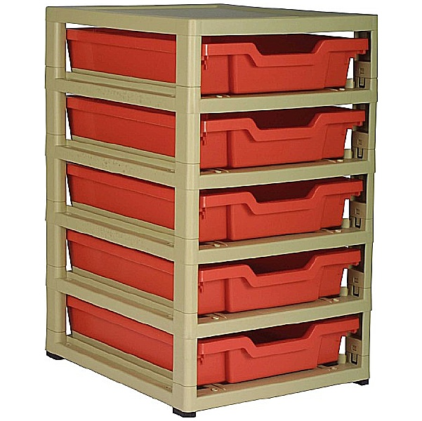 Gratstack Single Column Unit With 5 Shallow Trays