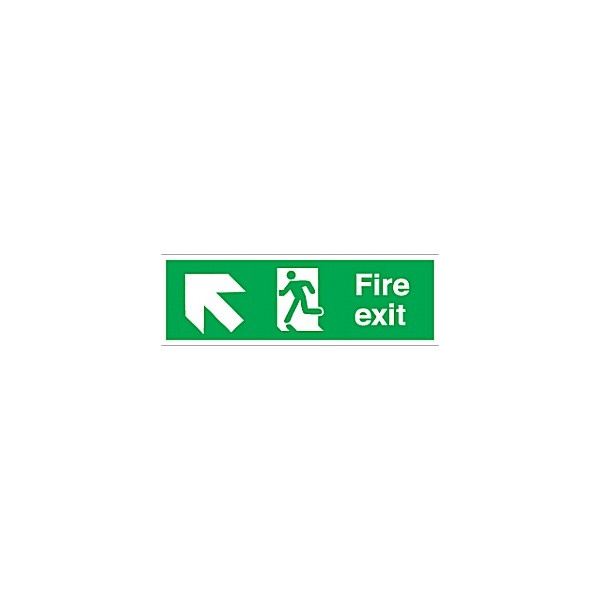 Fire Exit Left Up Diagonal Arrow