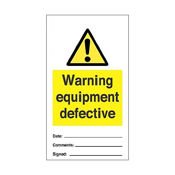 Warning Equipment Defective Tye Tags