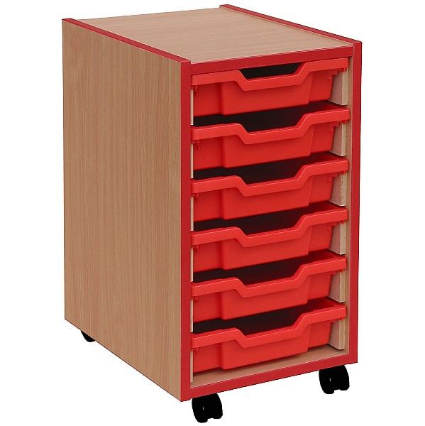 Coloured Edge 6 Tray Shallow Storage Unit