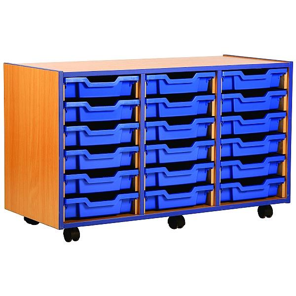 Coloured Edge 18 Tray Shallow Storage Unit