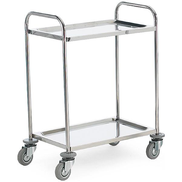 2 Shelf Stainless Steel Trolleys