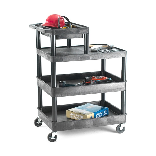 3 Shelf Service Trolley with Additional Half Shelf