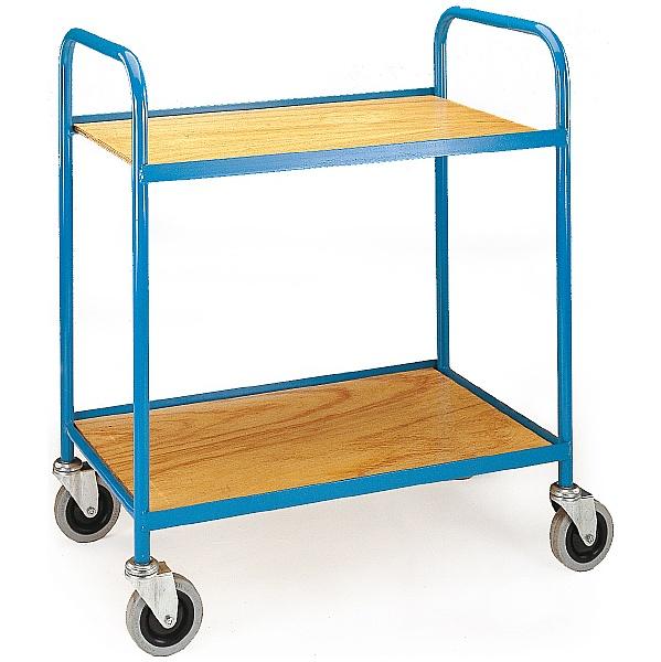 2 Shelf Plywood Tray Trolley
