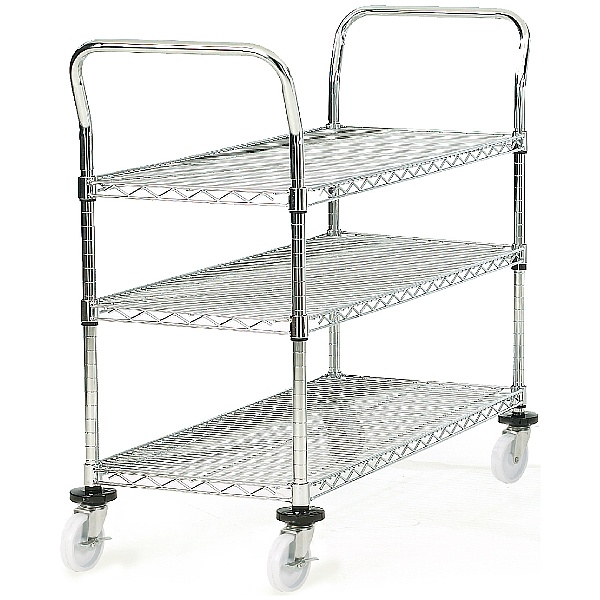 3 Shelf Chrome Plated Wire Trolleys