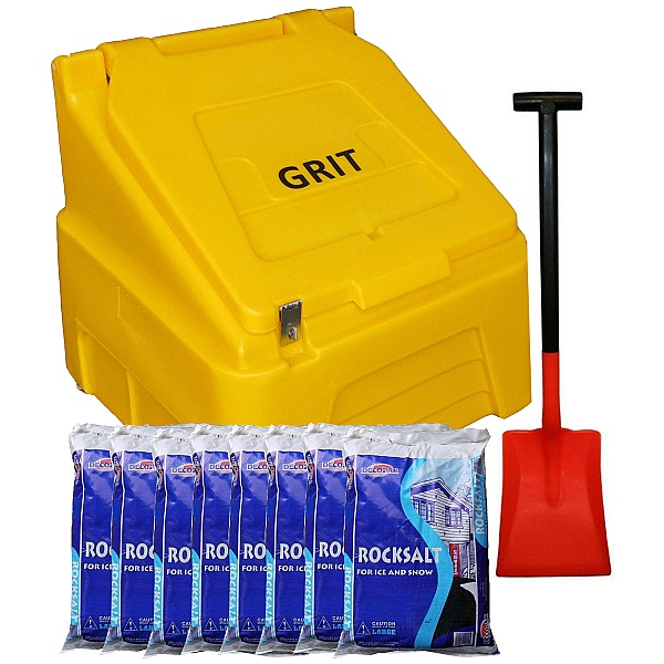 200L Grit Bin, Rock Salt With Shovel