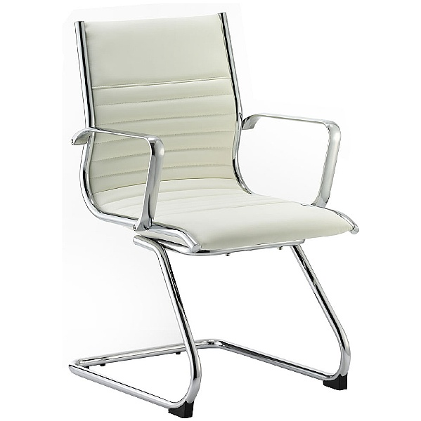 Premio White Leather Faced Cantilever Chair