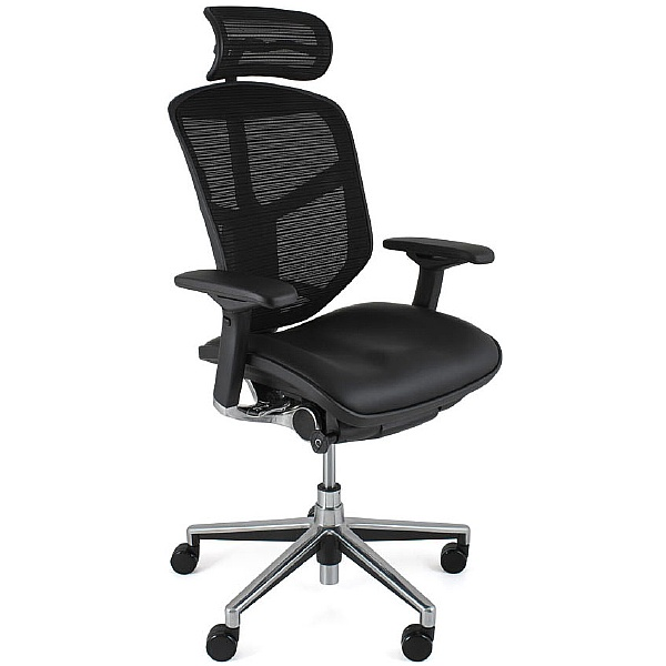 Enjoy Mesh & Leather Office Chairs (With Headrest)