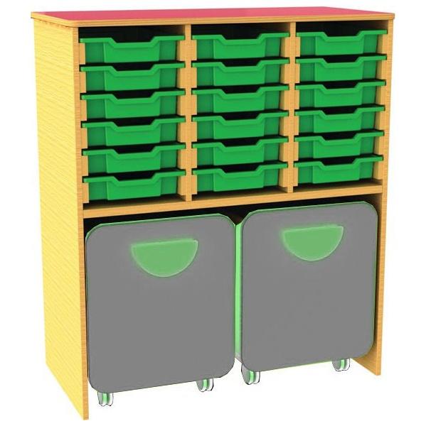Funky 18 Tray Storage Unit With Docking Space