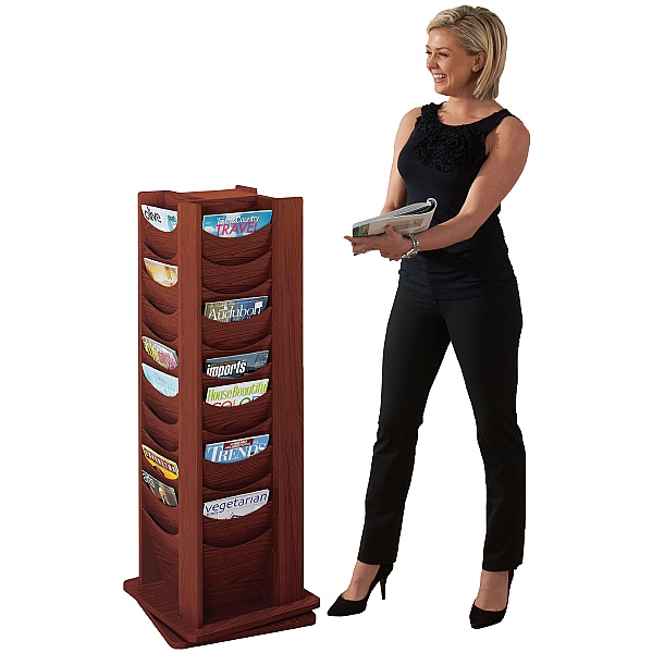 Mahogany Revolving Literature Dispensers