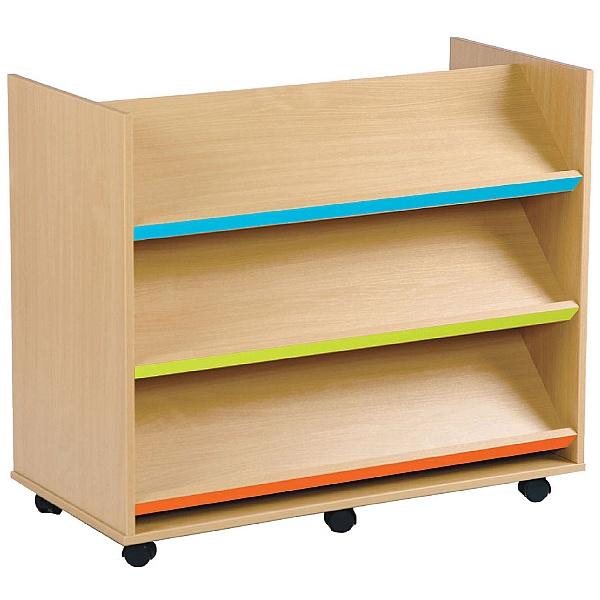 Bubblegum 3 Coloured Angled Shelves Library unit