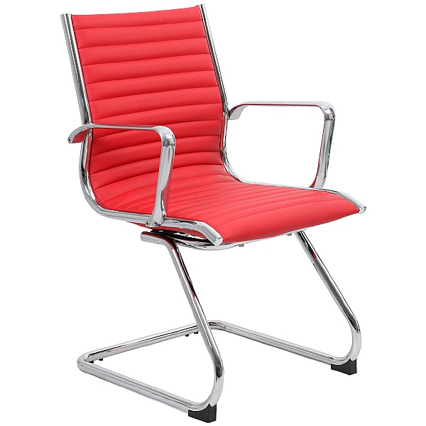 Abbey Red Leather Visitor / Boardroom Chairs