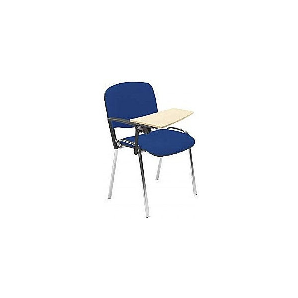Chrome Conference Chair With Beech Writing Tablet
