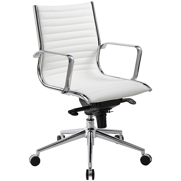Abbey Medium Back White Leather Office Chair