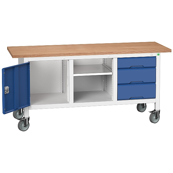Bott Verso Mobile Storage Benches - 1750mm With 3 Drawers With Cupboard
