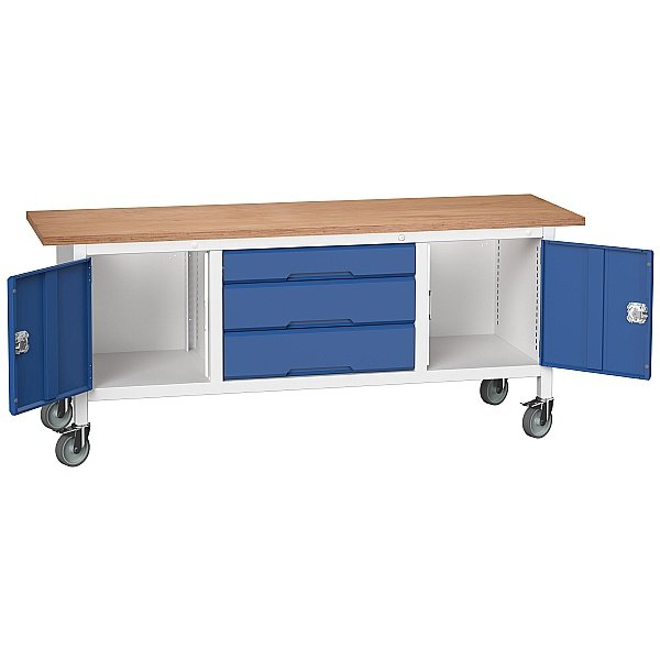 Bott Verso Mobile Storage Benches - 2000mm 3 Drawers With 2 Cupboards
