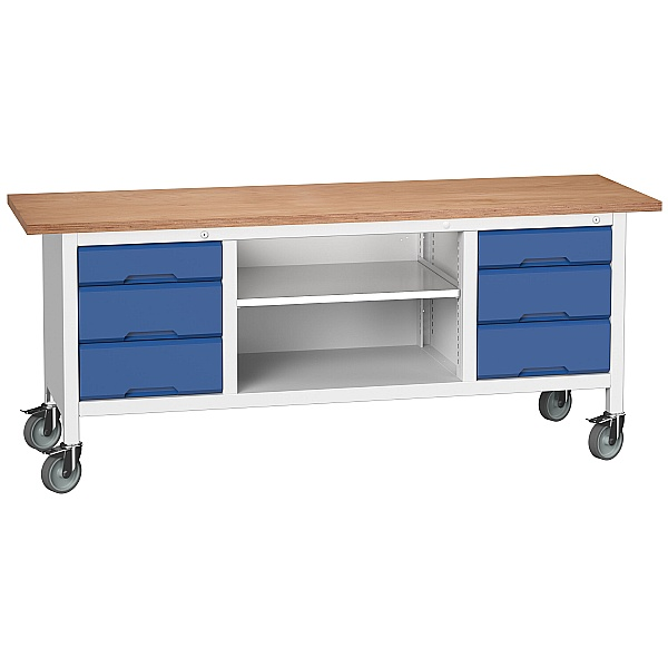 Bott Verso Mobile Storage Benches - 2000mm 6 Drawers
