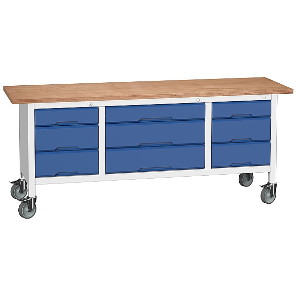 Bott Verso Mobile Storage Benches - 2000mm With 9 Drawers