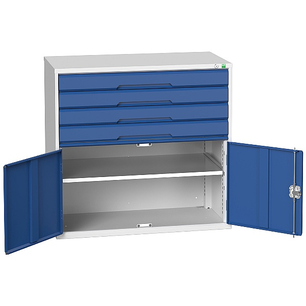 Bott Verso Drawer Cabinets - 1050mm Wide x 1000mm High - 4 Drawers With Cupboard