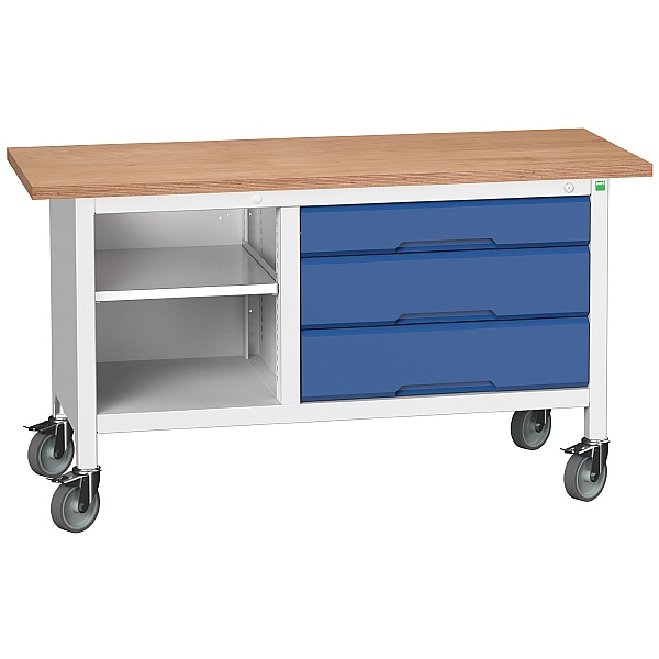 Bott Verso Mobile Storage Benches - 1500mm With 3 Wide Drawers