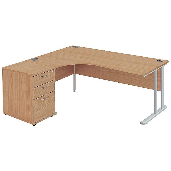NEXT DAY Commerce II Deluxe Ergonomic Desk With De