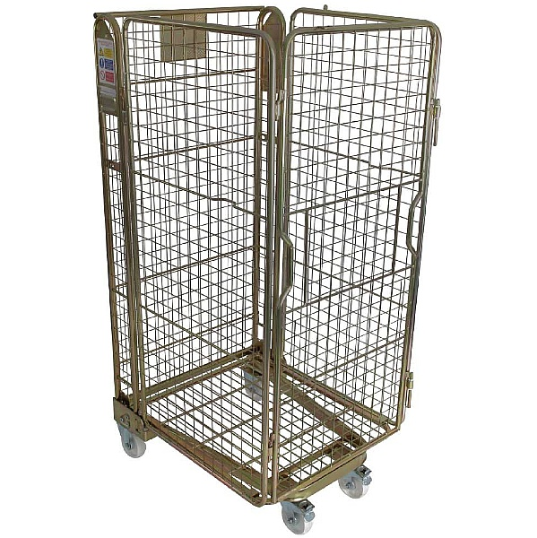 Palletower 4 Sided Mesh A-Base Nestable Roll Pallets - Gold Passivated