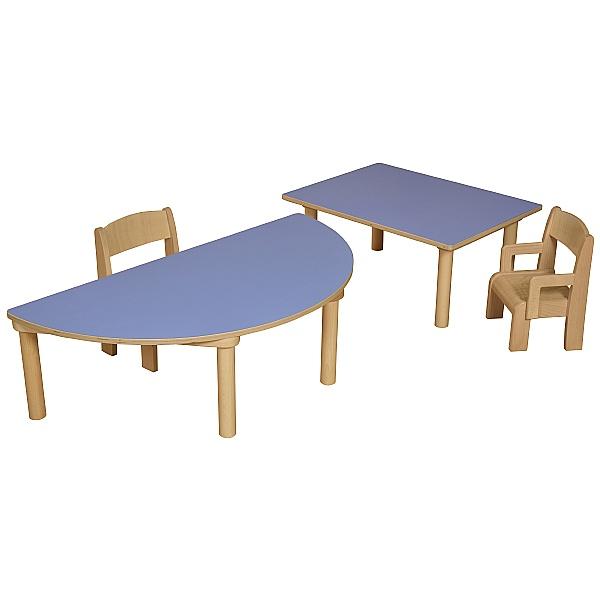 Height Adjustable Half Moon Classroom Table