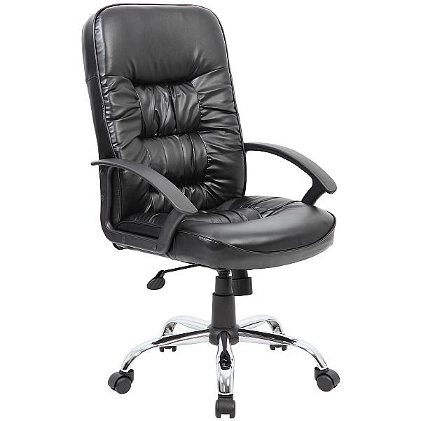 Cadiz Chrome Leather Faced Manager Chair