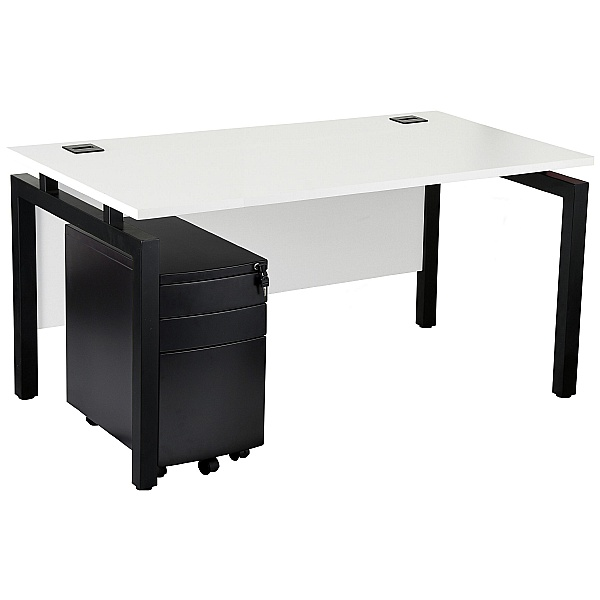 NEXT DAY Karbon K4 Rectangular Bench Desk With 3 Drawer Slimline Mobile Metal Pedestal