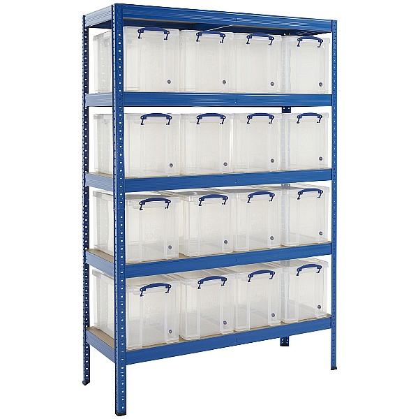 Industrial Shelving Bay With 16 x 24 Litre Really Useful Boxes