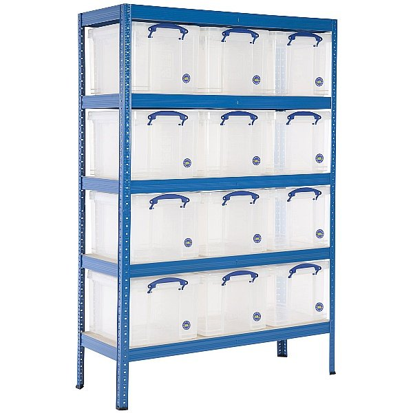 Industrial Shelving Bay With 12 x 35 Litre Really Useful Boxes