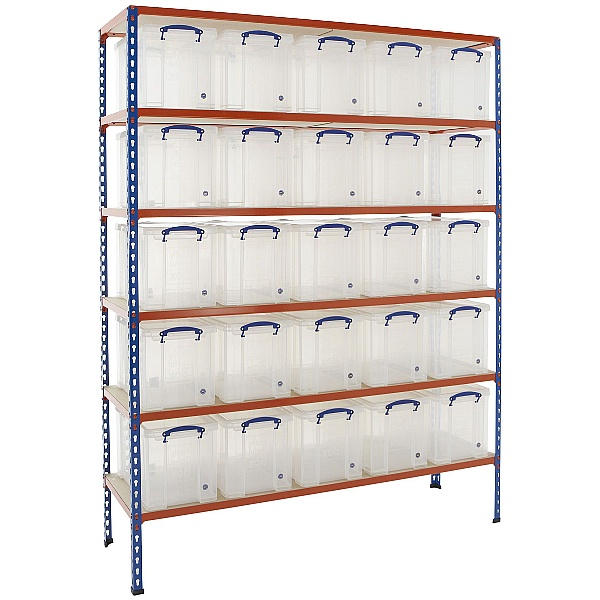 BiG340 Shelving Bay With 25 x 24 litre Really Useful Boxes