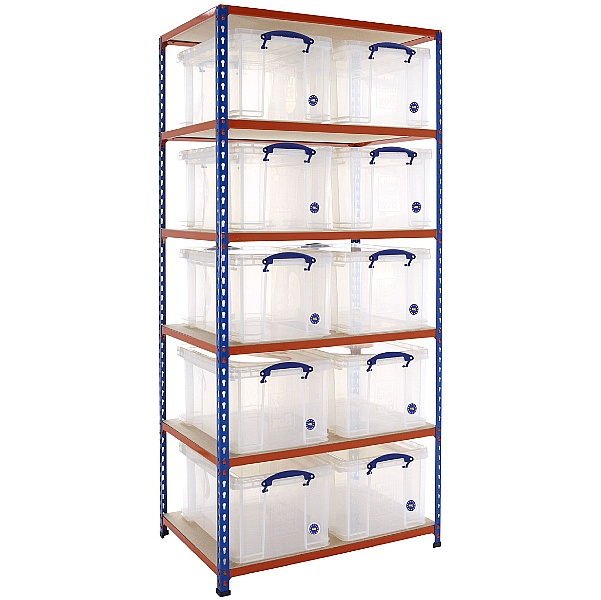BiG340 Shelving Bay With 10 x 48 litre Really Useful Boxes