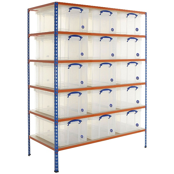 BiG340 Shelving Bay With 15 x 64 litre Really Useful Boxes