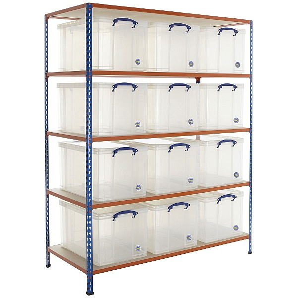 BiG340 Shelving Bay With 12 x 84 Litre Really Useful Boxes