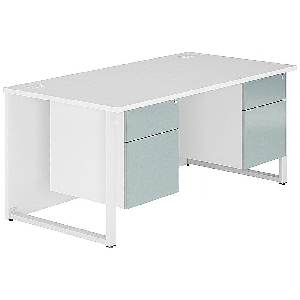 NEXT DAY Fluid Hoop Leg Rectangular Desk With Double Fixed Pedestals