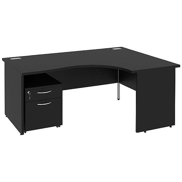 Next Day Eclipse Black Ergonomic Panel End Desks W