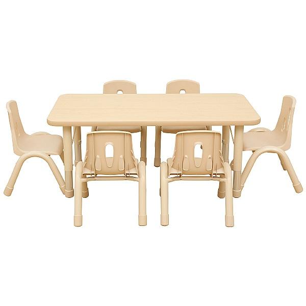 Elegant Rectangular Height Adjustable Classroom Tables