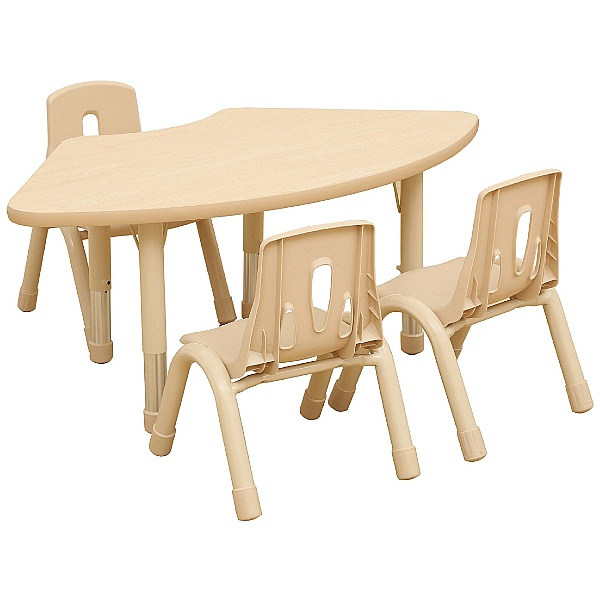 Fan Shaped Height Adjustable Classroom Table